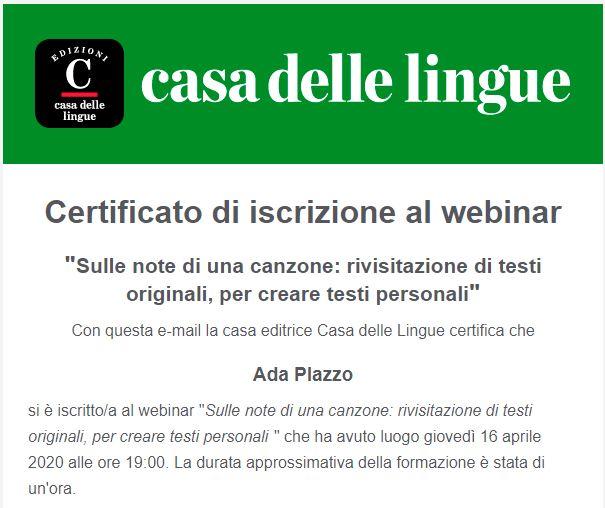 Certificato webinar_Casa delle Lingue